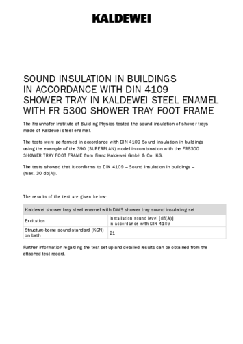 Sound insulation showertray with FR 5300