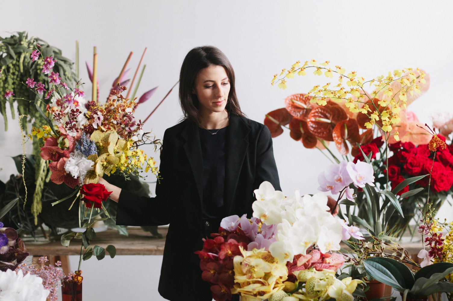 Ruby Barber with flowers