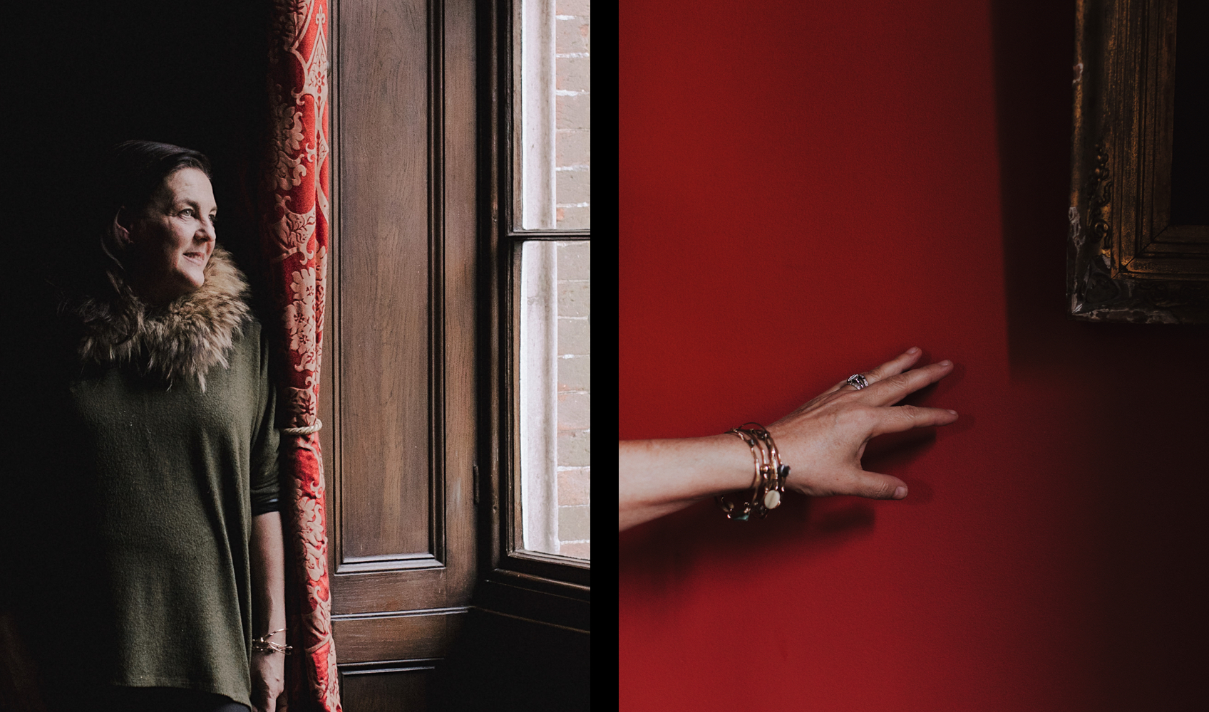 Joa Studholme, Farbberaterin von Farrow & Ball / Hand vor roter Wand.